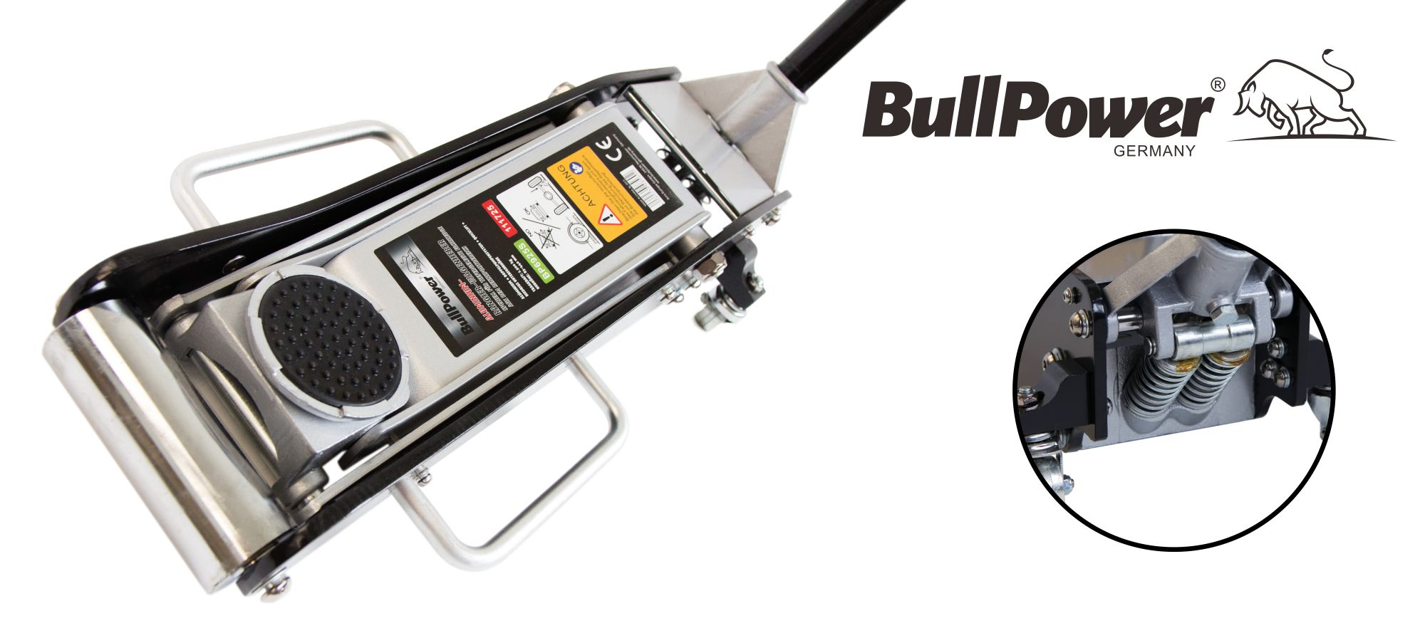 BP6925S BullPower Aluminium Wagenheber 2,5 Ton 85mm - 440mm, mit Quicklift, für Racing-Sportwagen, Rennsport