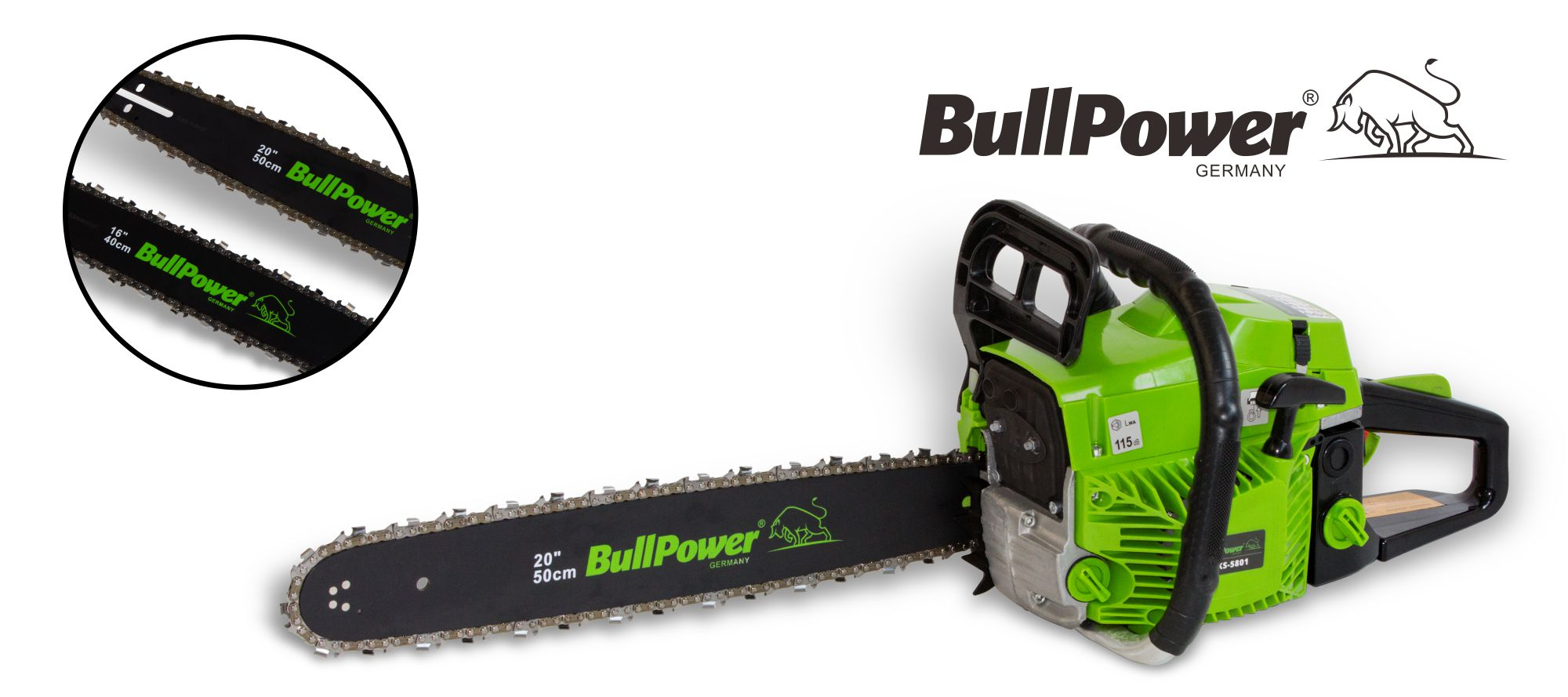 BullPower KS-5801 Benzin 58cc Kettensäge Motorsäge - 2 Schwerter, 2 Ketten 40cm + 50cm